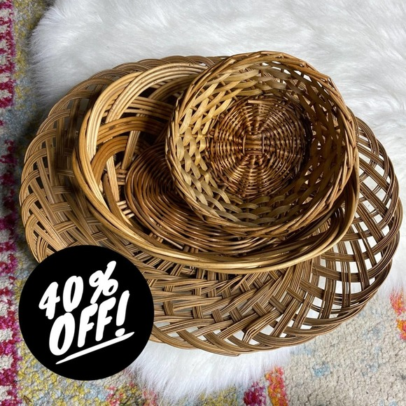 Vintage Set/3 Woven Wicker Baskets Boho Wall Art